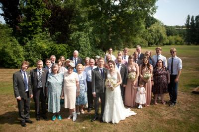 wedding group photo howfield manor kent